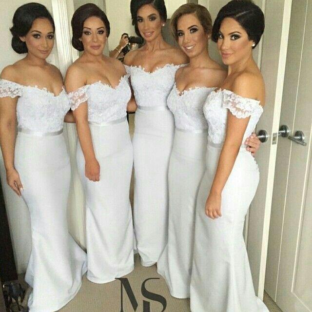 Lange Brautjungfer Kleider 2015 Meerjungfrau weg von der Schulter Kurzarm bodenlangen Kleider für Hochzeit