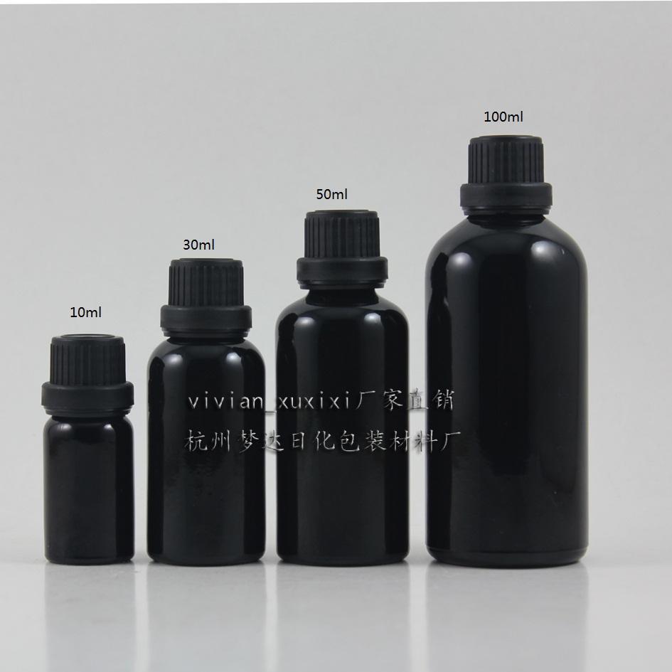30ml 반짝 이는 블랙 유리 에센셜 오일 병 블랙 도난 방지 나사 뚜껑. 에센셜 오일 용기