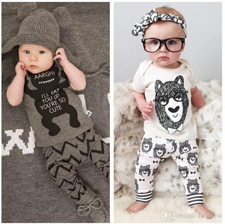 2018 summer style infant clothes baby clothing sets boy Cotton little monsters short sleeve 2pcs suit baby boy kids clothes LH16