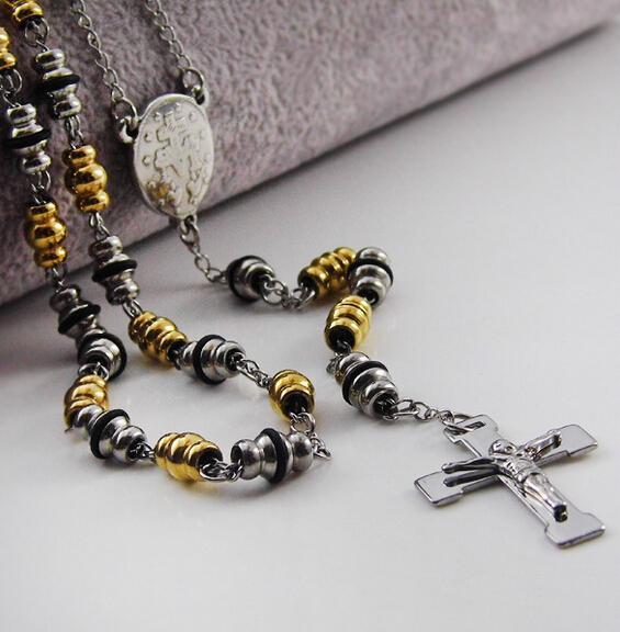 """Gold&Silver&Black Three Tone 6mm wide Unisex Rosary 28""""+4.5"""" Necklace Stainless Steel Religous Jusus Cross Crucifix Chain 65g"""