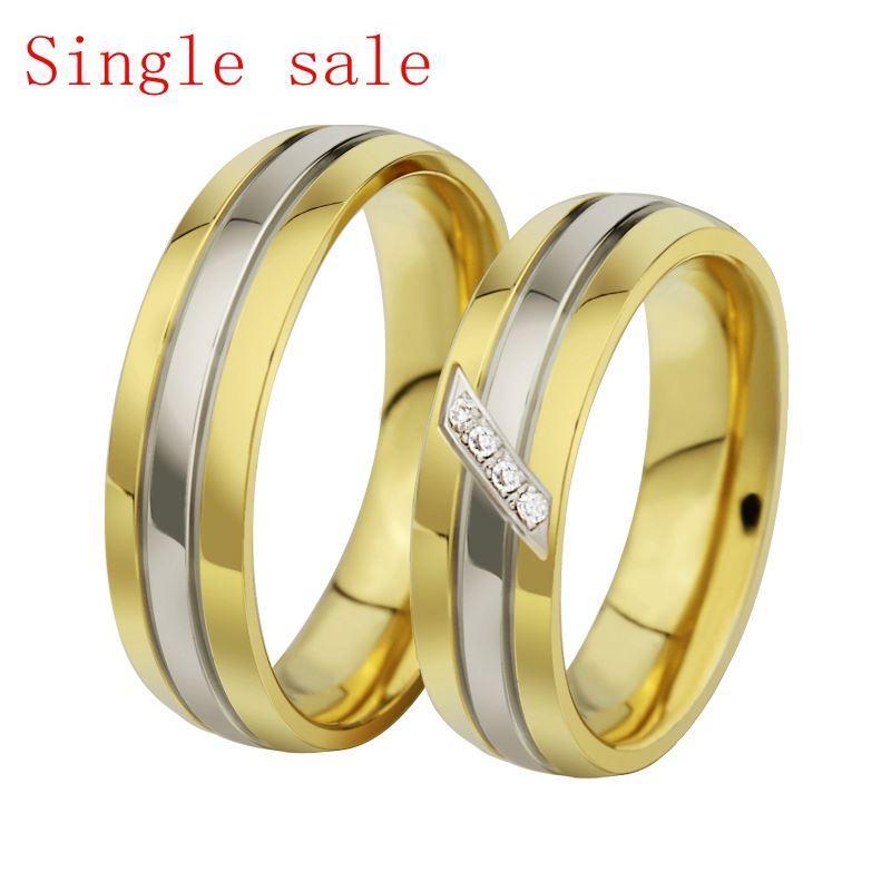 Moda 2015 Poniżej Pierścienie Dla Love Wedding CZ Biżuteria Jego i jej Obiecuj Gold Ring Single Sprzedaż Kochania Pierścienie