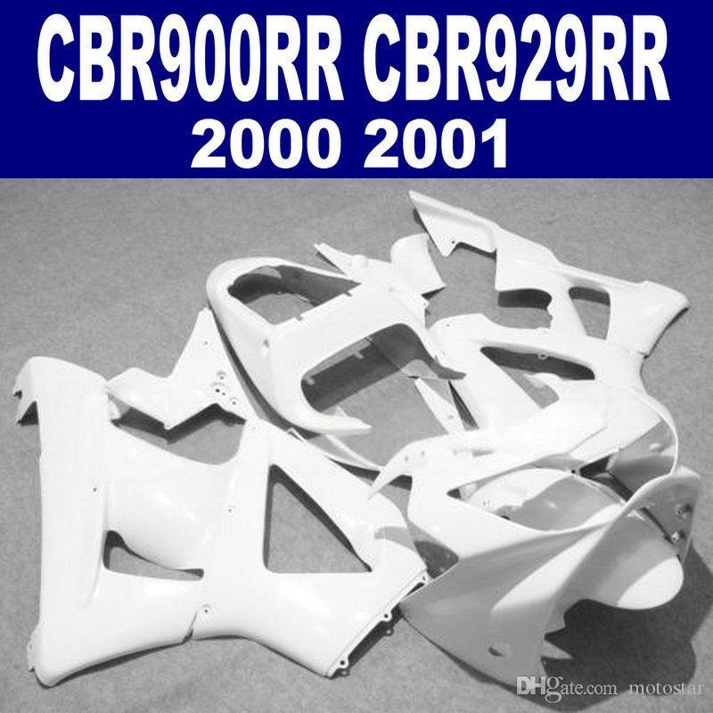 Kit carena personalizzabile gratuito per HONDA CBR 900 RR CBR929 00 01 CBR900RR 2000 2001 Carenatura bianca set HB47
