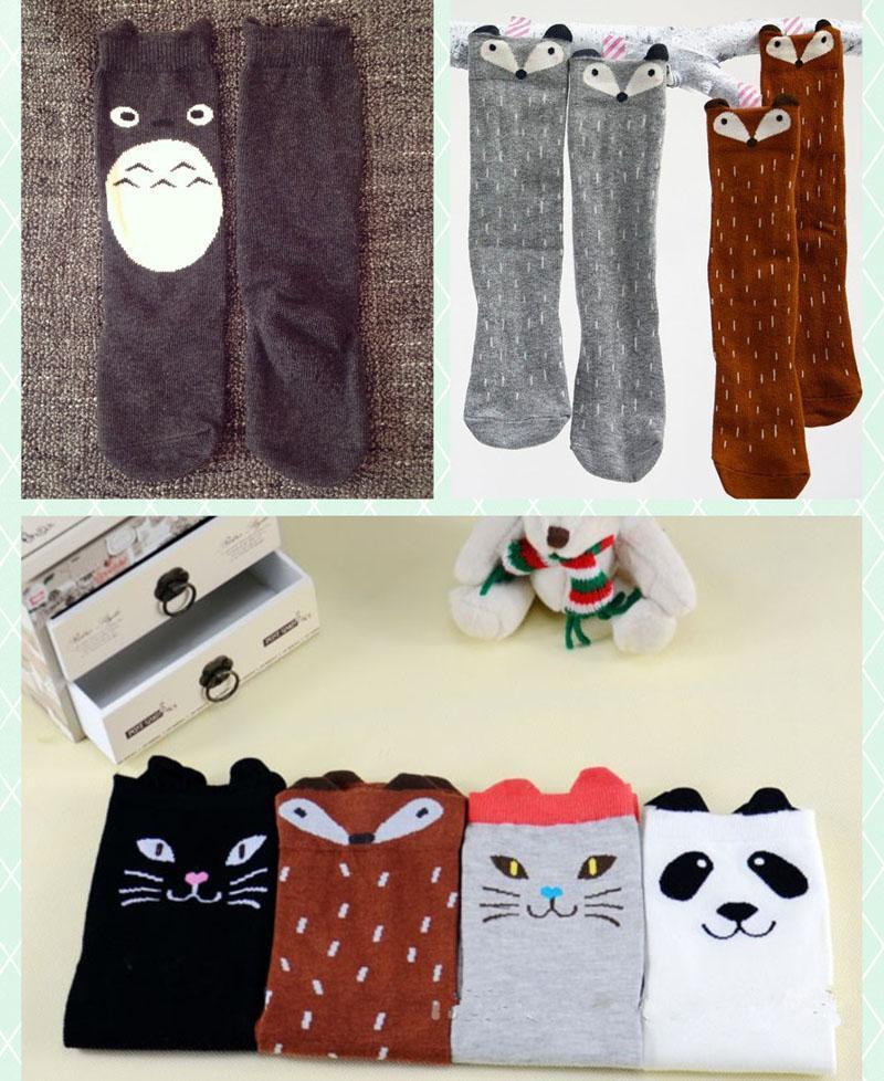 Children cartoon Totoro fox panda Long socks 2015 NEW lovely boy Girls 35cm cartoon socks 6 colors