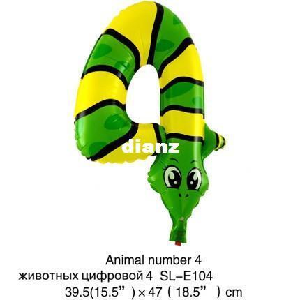 Nuovo Arriva 16 pollici Numero di animali Numero foglio palloncini per bambini Decorazione del partito Buon compleanno Decorazione di nozze Decorazione del pallone regalo