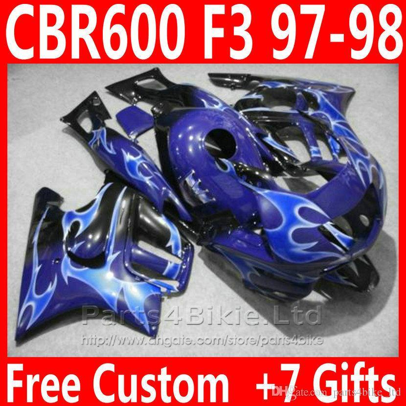 Carrozzeria di vendita calda per carenatura Honda CBR 600 F3 1997 1998 carenatura CBR600F3 blu bianco CBR600 F3 95 96 VG65