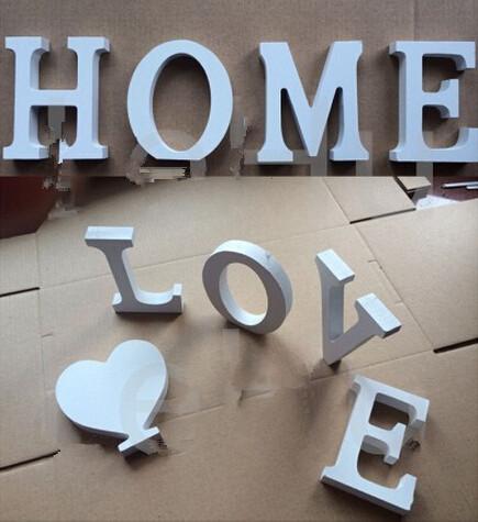 Nuovo arrivo Home Decor Decorazione legno spessa Legno lettere bianche alfabeto matrimonio compleanno 8cmX1.2cm