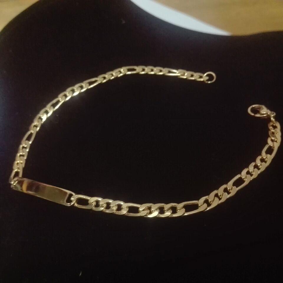 Пятно Оптовая ID браслеты из нержавеющей стали 18K позолоченный Figaro цепи хорошее качество браслет для отправки друзьям Доставка бесплатно