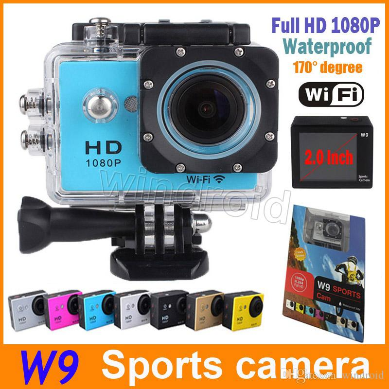 """Waterproof Sports Cam W9 HD Action Camera Diving Wifi 1080P 30M 2.0"""" 170° View DV Camcorders DHL Colorful 5pcs"""