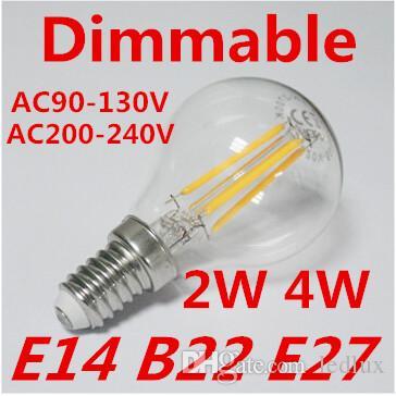2015 أحدث E14 E27 B22 بقيادة مصباح شمعة 2W / 4W البوليفيين الضوء الأبيض الدافئ الصمام لمبات الشعيرة ، وأضواء الكوز LED (220V / 110V)