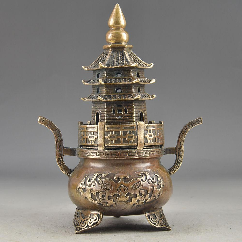 Toptan ucuz Pirinç Buda Exorcism İşi Eski Dövülmüş Pagoda Totem Tütsü Burner heykeli