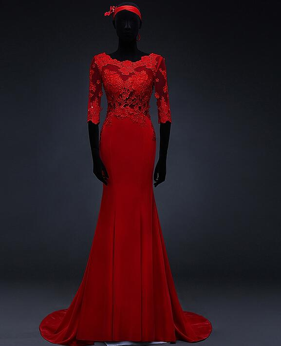 Mermaid Red Evening Gowns With Lace Sleeves Sheer Back Long ...