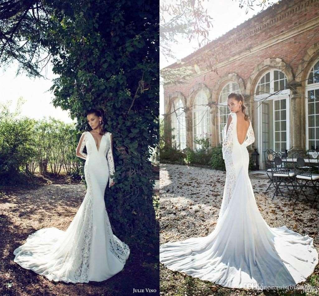2016 Julie Vino New Sexy Mermaid Lace Wedding Dresses with Long Sleeves Plunging V Neck Bridal Gowns Backless Spring Bridal Gowns Custom