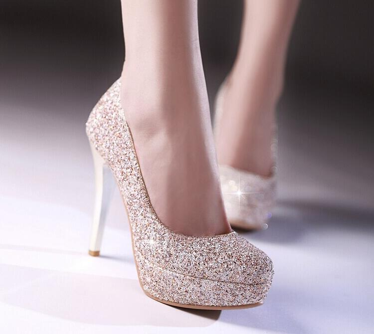 4b2a903d8 Glitter Lady Spring Dress Shoes Stiletto Heel Platforms White Gold Wedding  Dress Shoes Sparkling Nightclub Party Prom Shoes