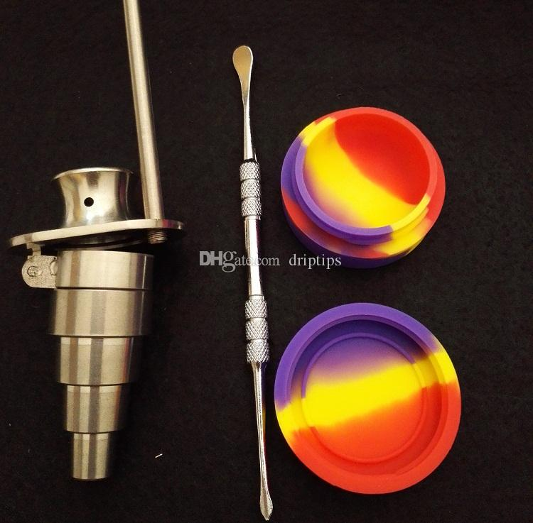 Bong Tool Set 6 in 1 Honey Bucket Titanium nail with Cowboy Hat Carb Cap 10mm & 14mm &19mm Female and Male with free silicone jar + dabber