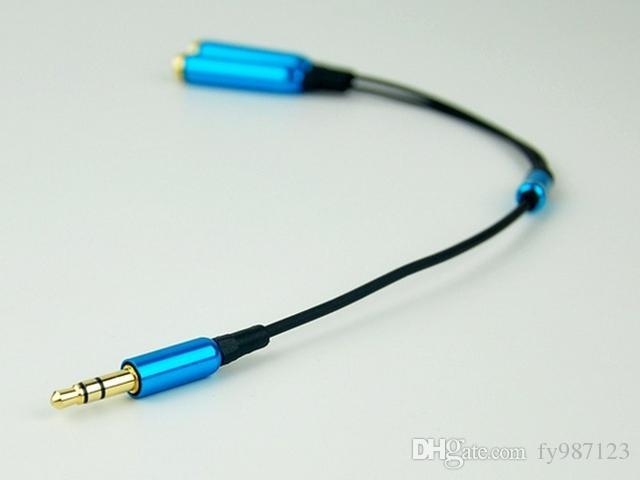Mini jack stereo in metallo da 3,5 mm 1 cavo audio AUX maschio a 2 femmina splitter per cuffie