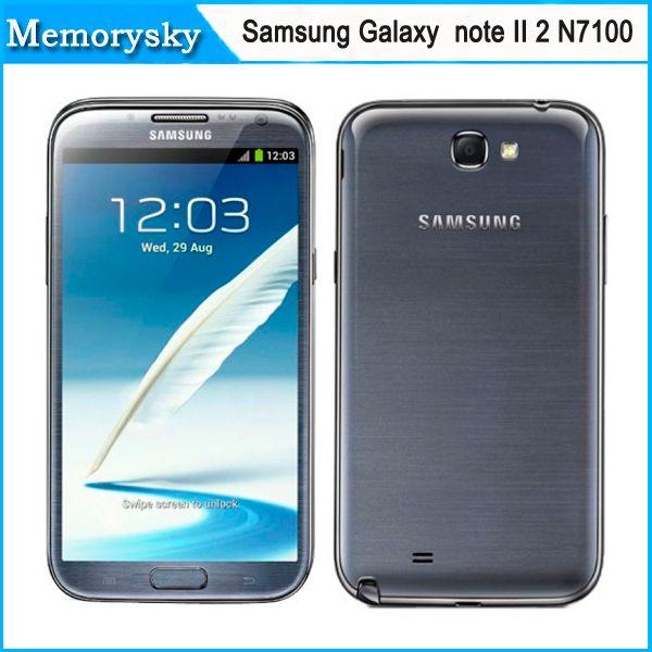 Novo Desbloqueado Original telemóvel Samsung Galaxy Note II 2 N7100 Android 4.1 8MP Câmera Quad-Core 2 GB de RAM 16GB ROM DHL transporte livre 002836