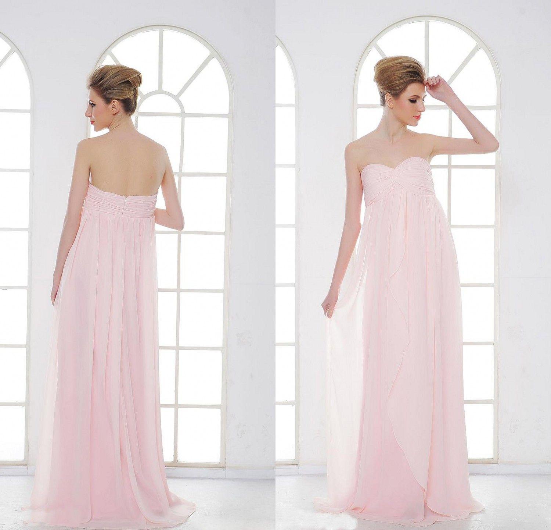 2016 Gorący Sprzedam Pink Maternity Druhna Dresses EiffelBride Sexy Sweetheart Neck Zdobione Pick-UPS Eleganckie Empire Szyfonowe Suknie Wieczorowe