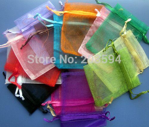 Wholsale 200Pcs / Lots Organza Bolsa de regalo de boda Bolsas de regalo de Navidad Bolsas de joyería 7x9cm