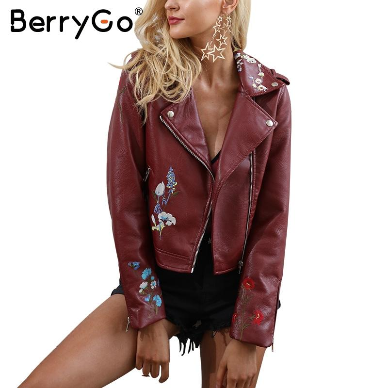 BerryGo Womens Floral Embroidery Motorcycle Biker Leather Jacket