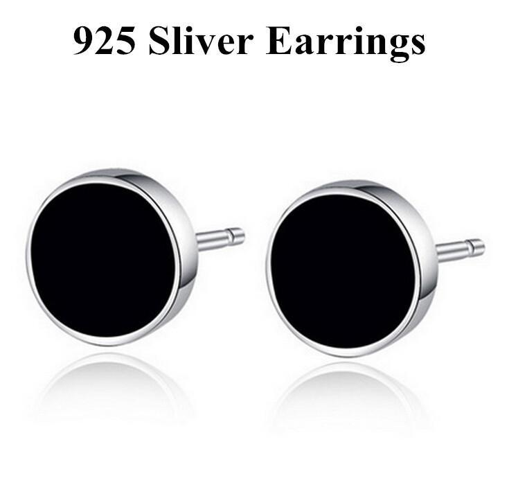 Hoge kwaliteit Classics Black Ronde Earings Mode Vrouwen Mannen Sieraden 925 Sterling Verzilverd Stud Oorbellen