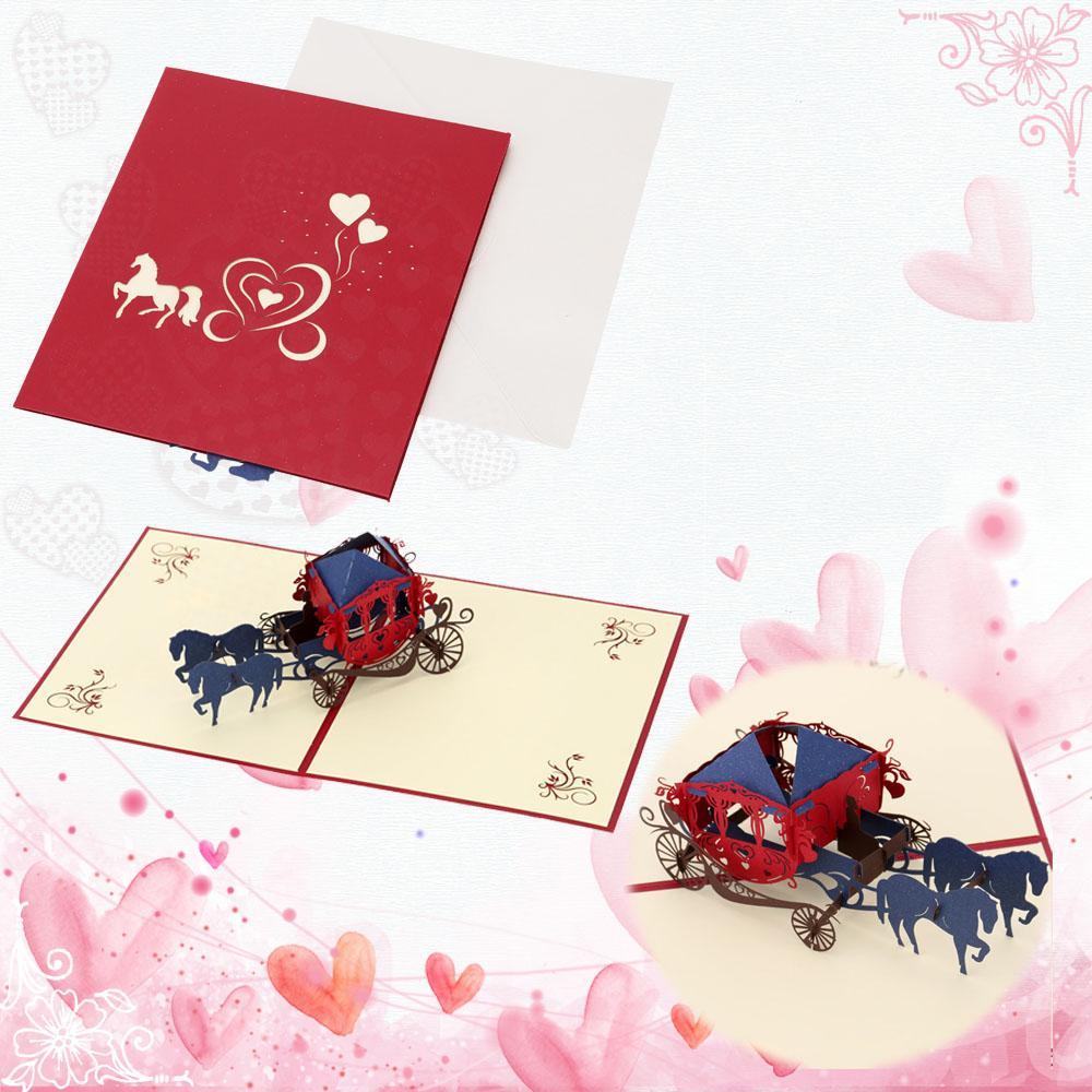2018 3d Handmade Pop Up Wedding Invitation Card Retro Paper Cut ...