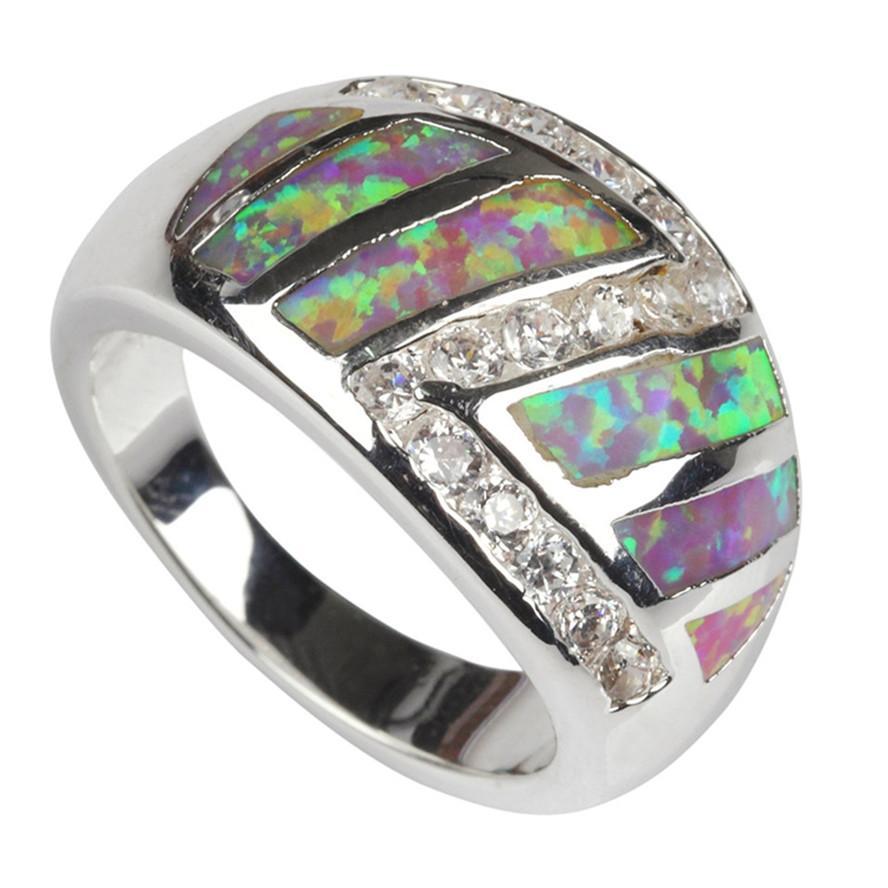 Tijd Beperkte korting Bestsellers MN101 SZ # 7 8 9 Pink Opal en Witte Cubic Zirkonia Groothandel Koper Rhodium Plated Vintage Promotion Ring
