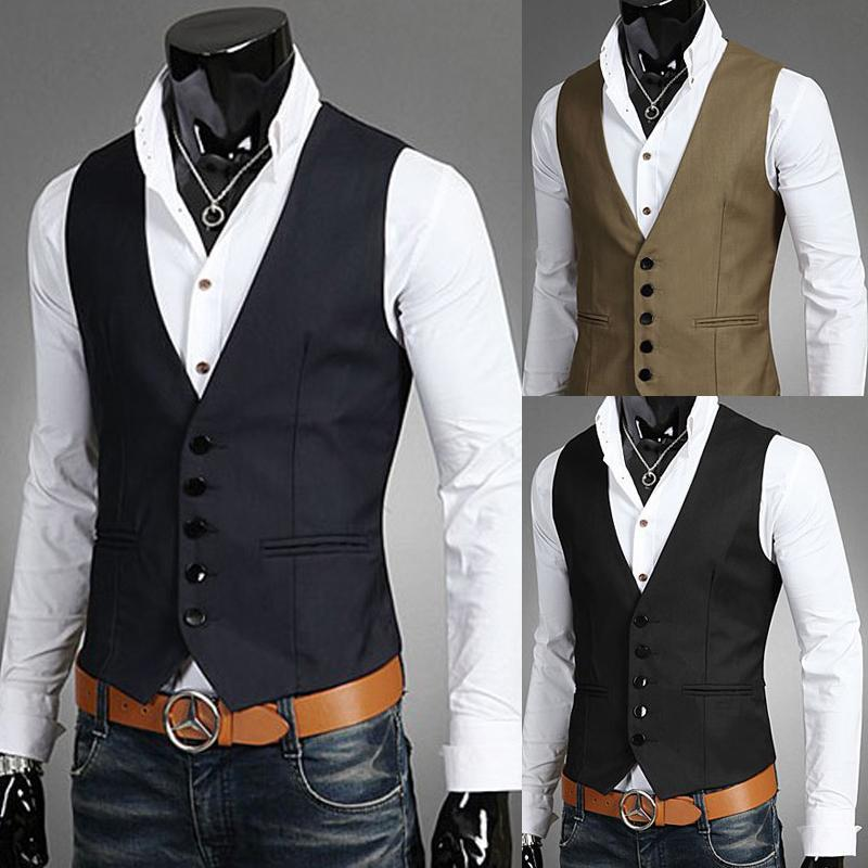 Online Cheap Men Vests Outerwear Mens Casual Suits Slim Fit ...