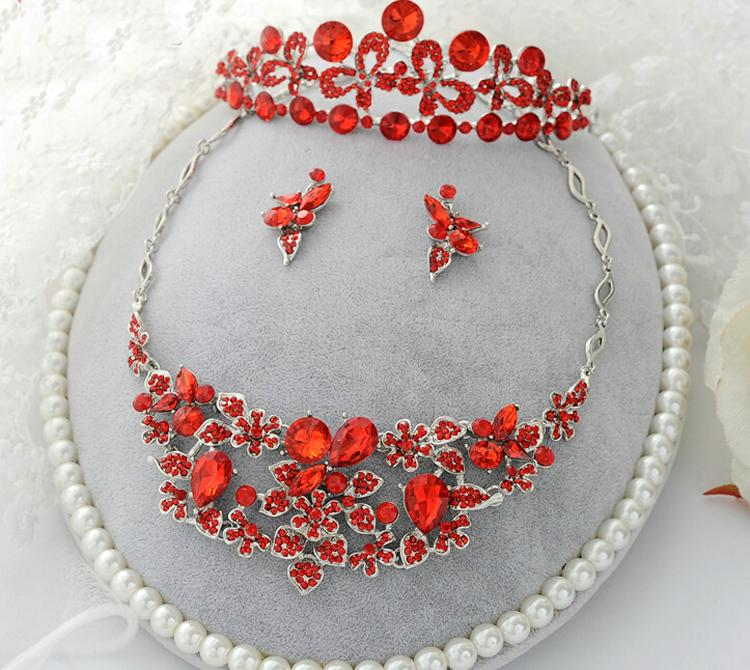 Free Shipping Red Crystal Rhinestone Wedding Bridal Party Tiara Earring Necklace Jewelry Set Lady's Party Wedding Accessory
