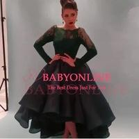 Arabic Boat Neck Drak Green Lace Top Myriam Fares Sheer High Low Prom Dress With Long Sleeves 2015 Fast Shipping Party Dress