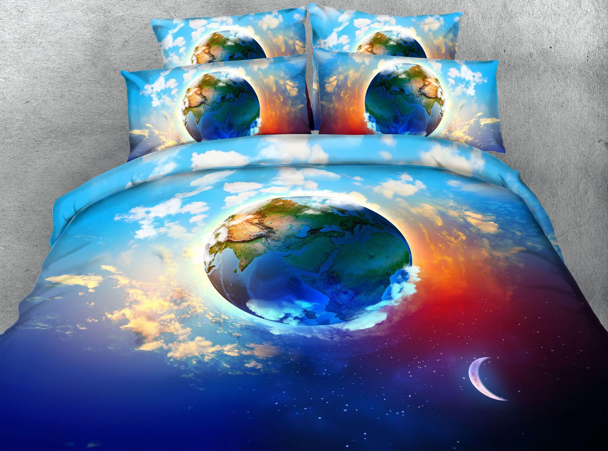 3D Moon Earth Dovet Cover Set Twin Full/Queen King Cal King Beautiful Design Bedding Sets Pillow Shams Bedspreads Comforter Set