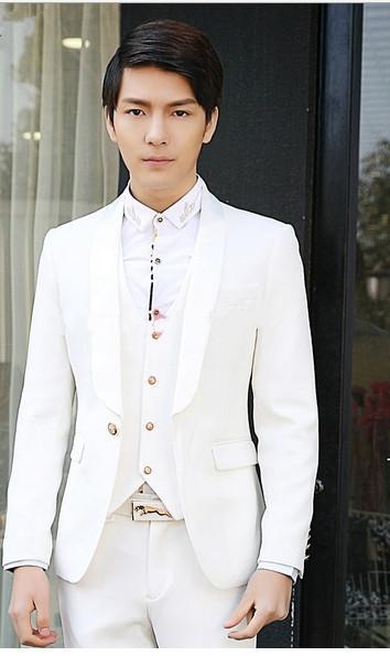 Новый чистый цвет трехсекционный костюм джентльмен мужчины свадебное платье Хань издание культивировать свою мораль и жених костюм брюки ma3 jia3