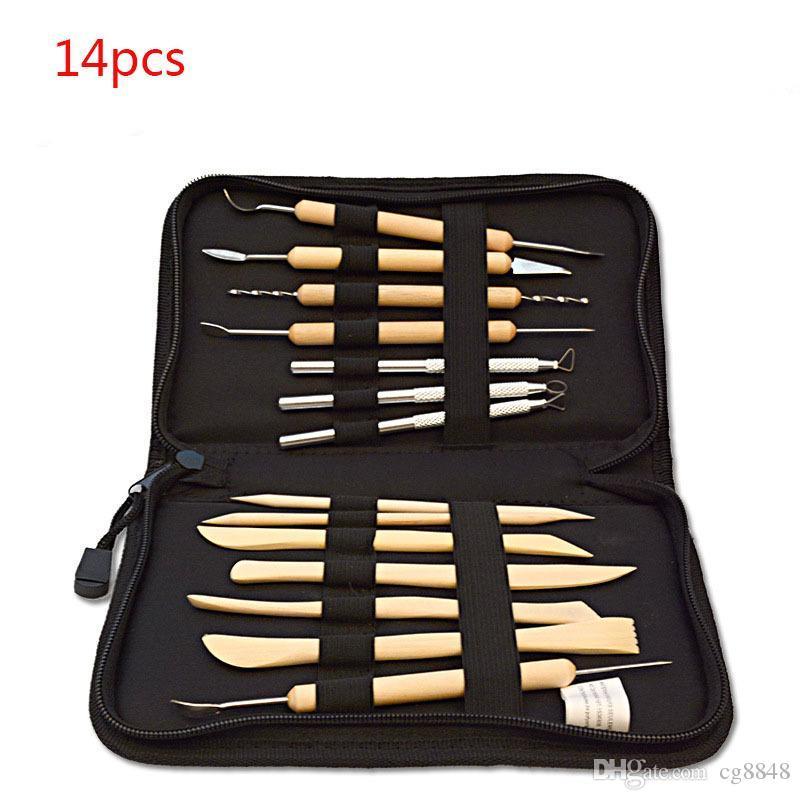무료 배송 14PCS 나무 금속 도자기 조각 성형 전문 점토 도구 키트를 조각 뜨거운 판매