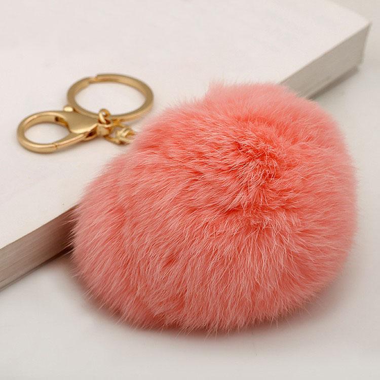 Sevimli Hakiki Deri Tavşan Kürk Topu Pom Poms Peluş anahtarlık araba anahtarlık Çanta Kolye araba anahtarlık hediye kızlar ve kadınlar için, Mix renkler