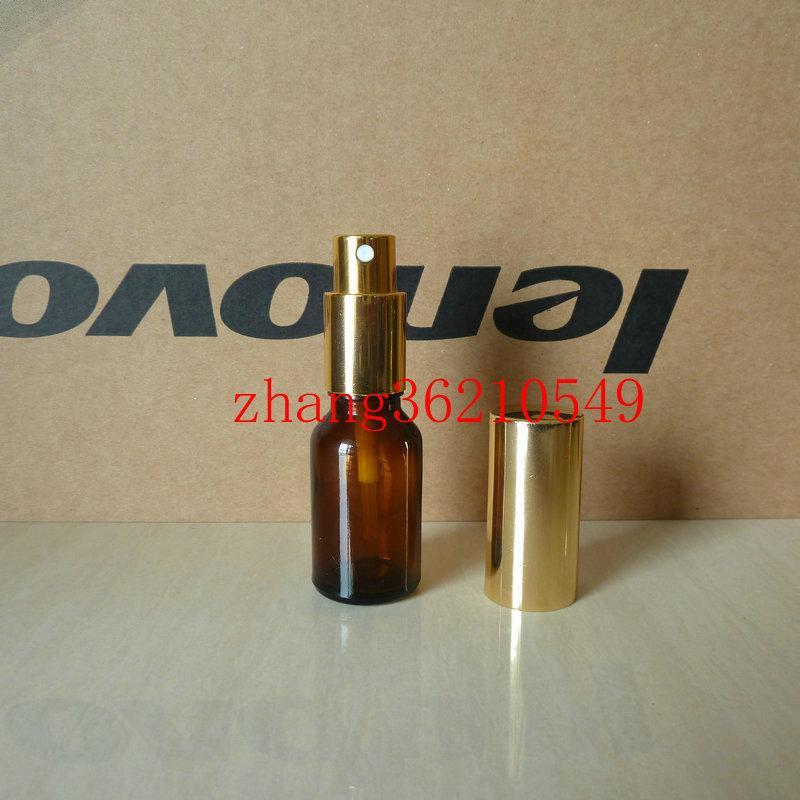 15ml 갈색 / 호박색 유리 향수 병 알루미늄 반짝이 골드 미스트 분무기. 향수 분무기 병 용기