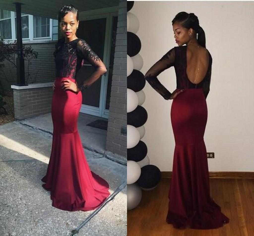 2k15 South African Long Sleeve Evening Dresses Black Burgundy Lace Trumpet Prom Party Gowns Elegant Bateau Neck Backless Girl Prom Dresses