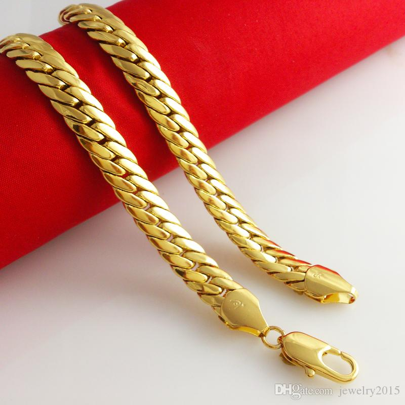 """Wholesale MASSIVE 19.6"""" 23.6""""18k YELLOW GOLD FILLED MEN'S necklace DOUBLE CURB CHAIN 9MM WIDE 82G100G FREE"""