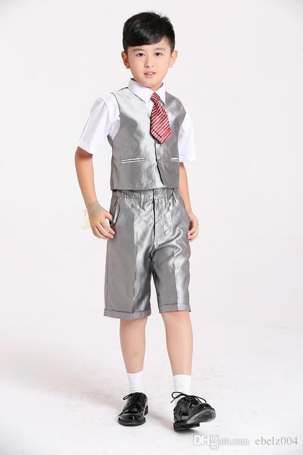 2015 Hot Children Wedding Suits Kids Tuxedo Silver Color Boys ...