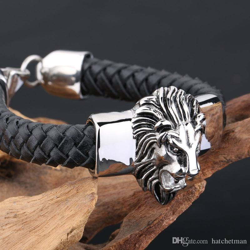 Mens Jewlery Silver Stainless Steel Lion Head With Black Leather Bracelet 20mm