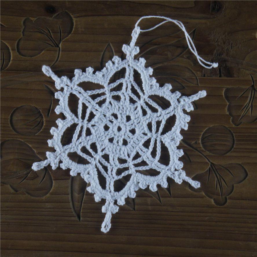 Floco de neve de crochê Ornamento de suspensão Enfeites de inverno Enfeites de crochê Flocos de neve de crochê branco Enfeites artesanais Floco de neve de floco de neve de sd12