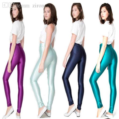 Wholesale-Women's High Waist Stretch Skinny Shiny Spandex Footless Leggings Disco Dance Pants