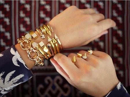 送料無料2015新しいクリスタルダイヤモンドゴールドシルバーチャームジュエリーファッションVita Fedeブレスレットバングル宝石アクセサリーギフト女性