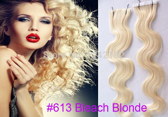 Capelli biondi Prodotti a nastro Capelli brasiliani onda 30 pollici Capelli trama della pelle umana 100 g 40 pz lotto Tape Hair Extension # 613 Bleach Blonde