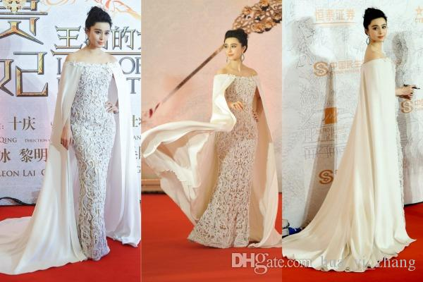 Sheath Lace Runway Evening Dresses 2016 with Cape Middle East Split Gowns Evening Wear Pageant Dresses