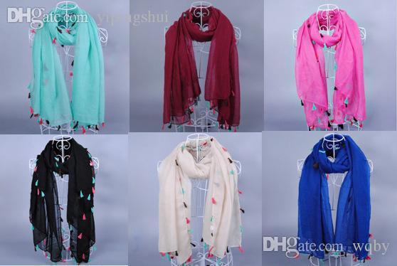 Venta al por mayor-moda de la moda borlas de color sólido liso 100% viscosa lisos chales largo abrigo hijab musulmanes bufandas / bufanda 10pcs / lot