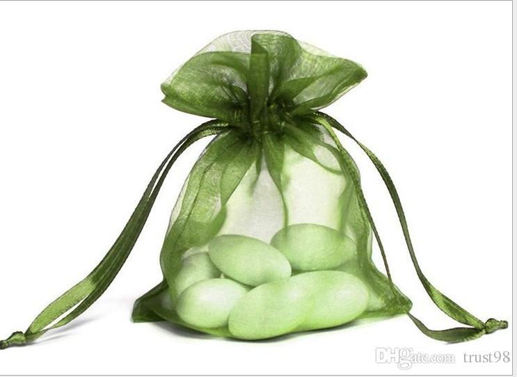 Bolsas de regalo de organza verde 7x9cm 9x12cm 12x17cm 15x20cm 20x30cm Bolsas de lazo de la joyería Favores de la fiesta de cumpleaños de la boda