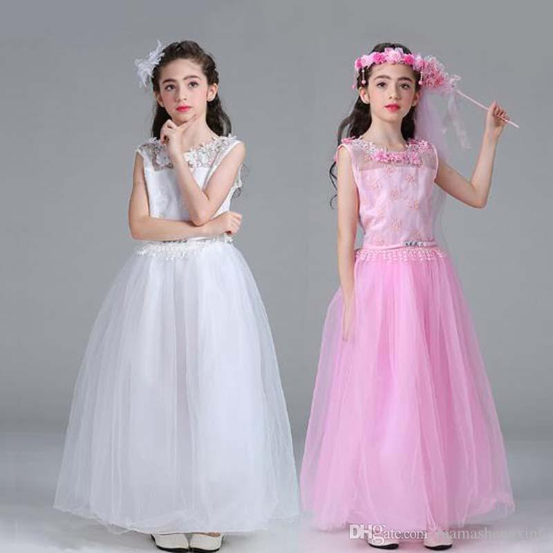 2019 New Child Dress Back Hollow Children Long Flower Girl Wedding Dress Girl Flower Lace Long Princess Skirts Christening Dresses From Mamashengxin6