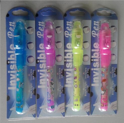 حزمة بطاقة نفطة فردية لكل قلم ضوء أسود ، قلم حبر غير مرئي مع الأشعة فوق البنفسجية (فوق البنفسجية) / سر القلم / تسليم سريع بواسطة DHL
