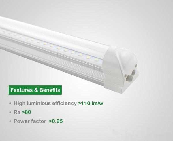 Super Bright 8ft 2.4m Integrated T8 Led Tubes Light 45W 4800lm 196 Leds SMD 2835 Warm/Natrual/Cool White AC 85-265V UL cUL