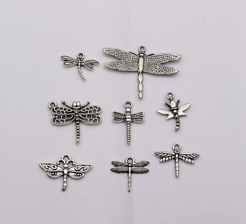 Горячей ! 96 шт. Античное серебро смешанные подвески стрекоза шарм DIY ювелирные изделия 8-стиль 8.5 мм * 17 мм * 6 мм (437)