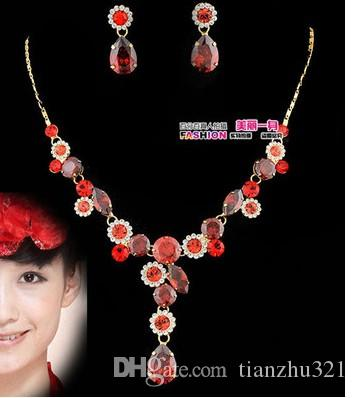 붉은 다이아몬드 비즈 웨딩 신부 세트 목걸이 earings () xxscj2) sfsf